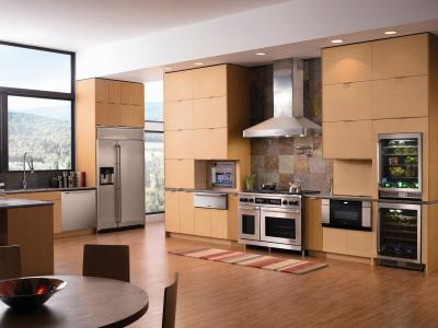 Design-huge-kitchen-with-stainless-steel-appliances-and-wood-furnishing