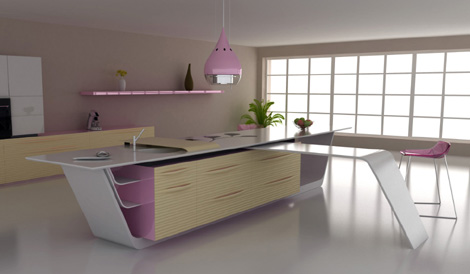 Modern-futuristic-design-kitchen-combined-with-white-pink-and-light-wood